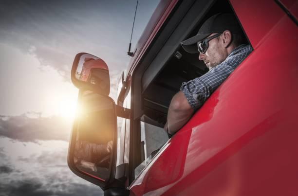 Semi Truck Driver stock photo