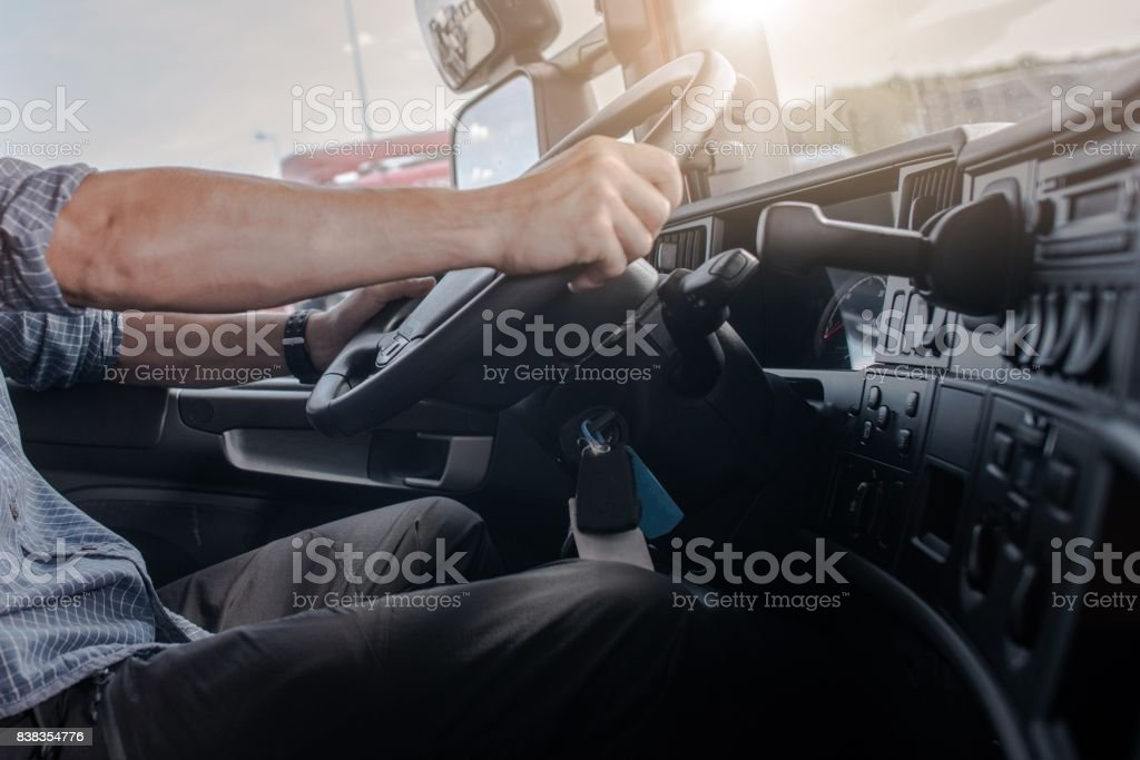 Semi Truck Driving Job stock photo