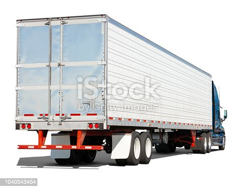 Rear three quarter view of ablue semi truck with white and metal cargo trailer, isolated on a white background with drop shadow.  Canon 5D Mark II.