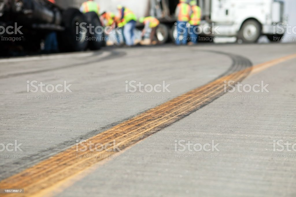 Semi Truck Highway Accident Cleanup stock photo