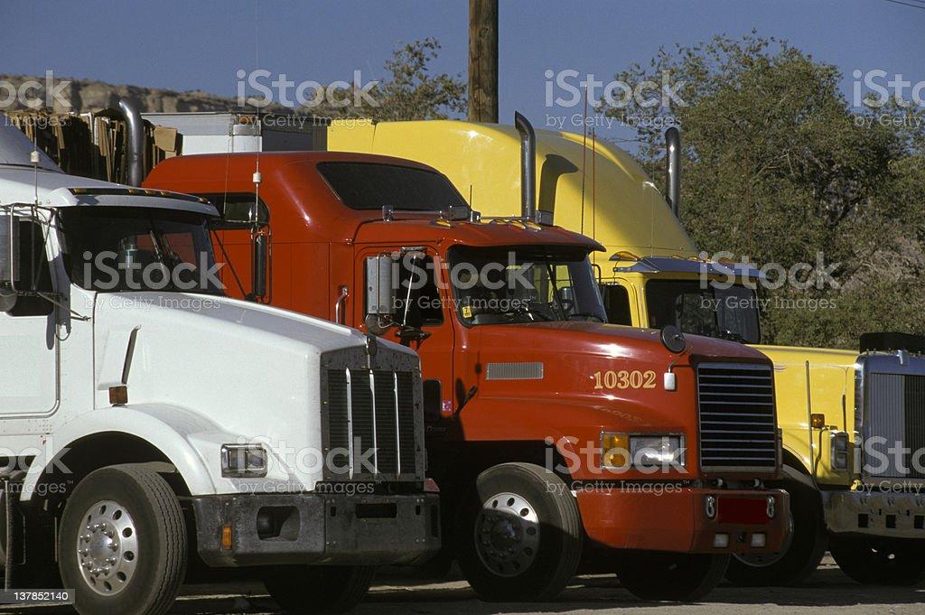 Semi Truck Lineup stock photo