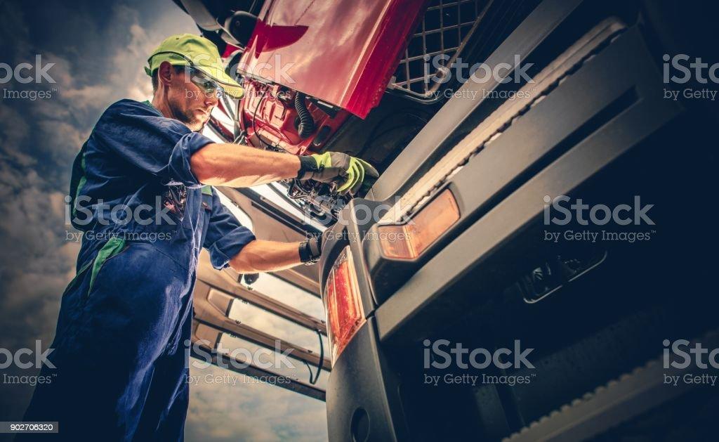 Semi Truck Maintenance stock photo