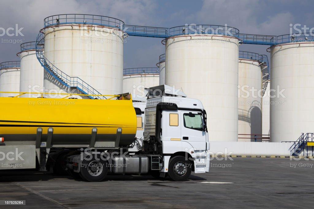 Semi truck oil tanker at factory stock photo