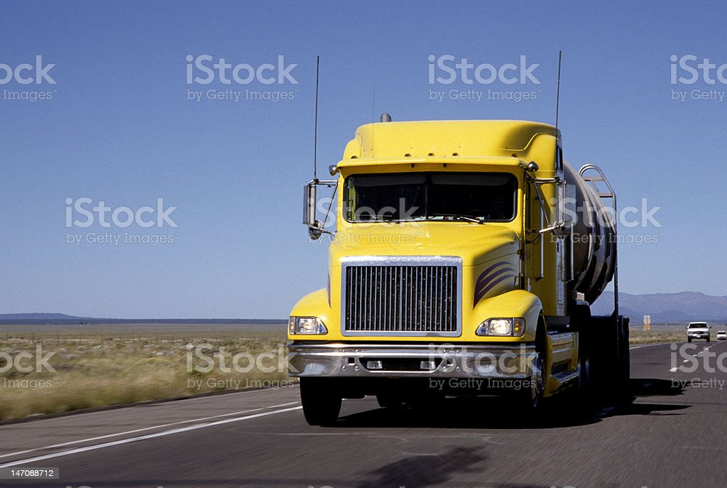 Semi Truck On Highway royalty-free stock photo