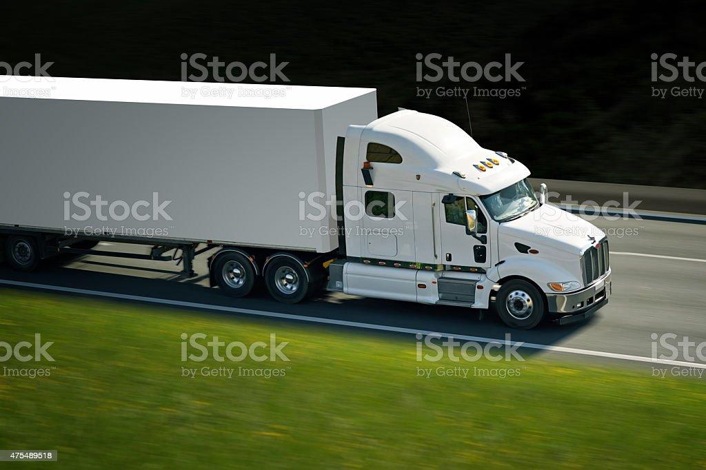 semi truck on road stock photo