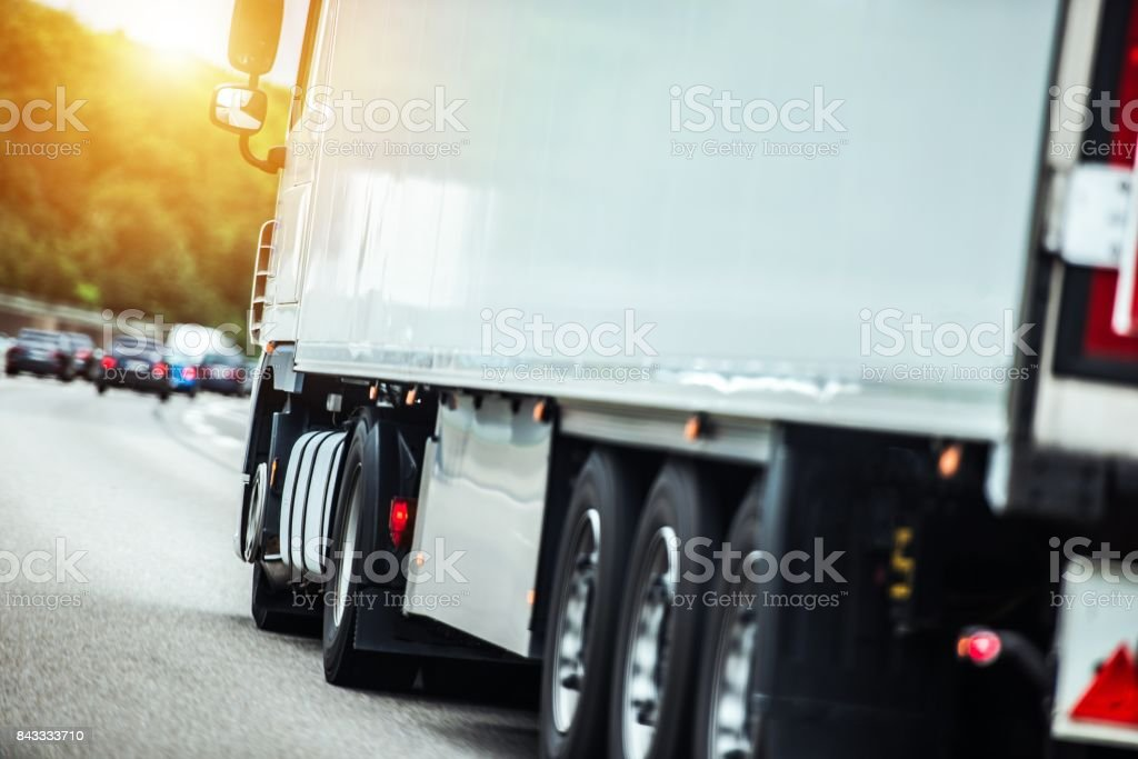 Semi Truck on the Route stock photo
