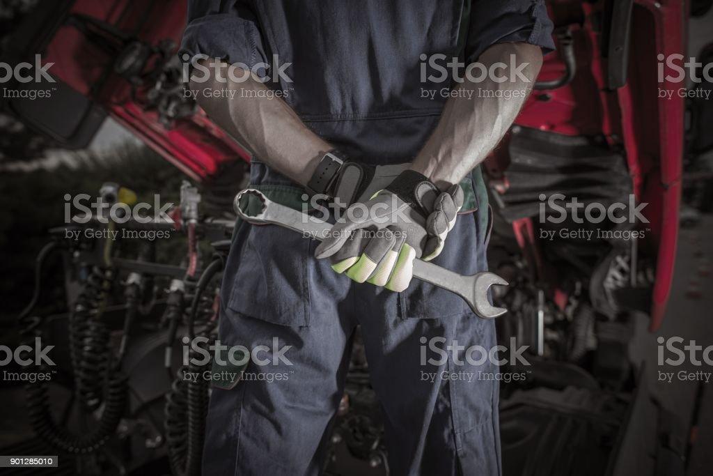 Semi Truck Pro Mechanic stock photo