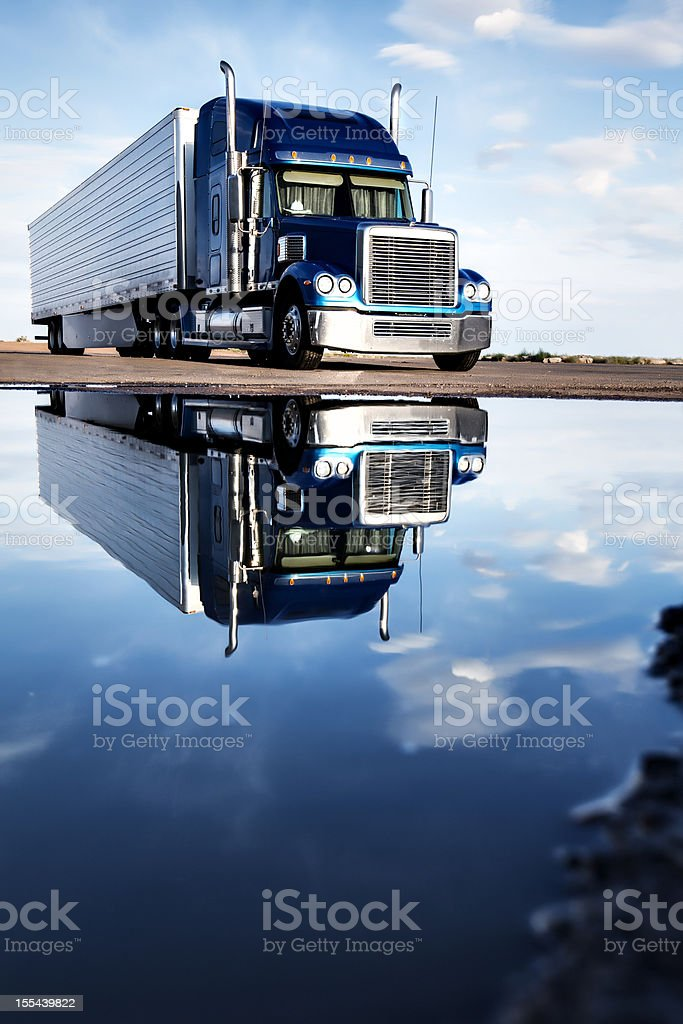 Semi Truck reflection stock photo