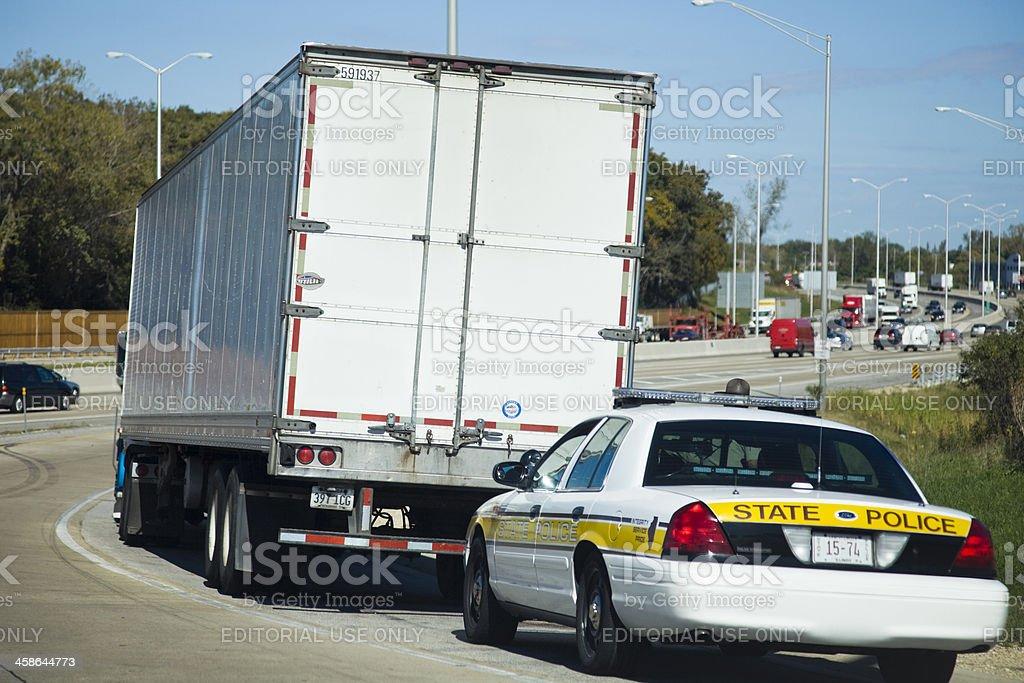 \'Chicago, Illinois, USA - October 1, 2010: White semi truck stopped...