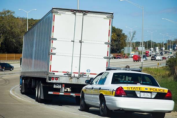 Semi Truck stopped by the State Police stock photo