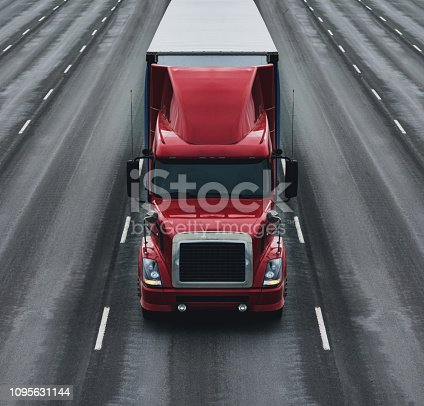 A semi truck on a multiple lane highway.