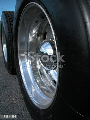 set of brand new mag wheels and tires on semi truckSee more related images in my Semi Trucks & Parts lightbox: