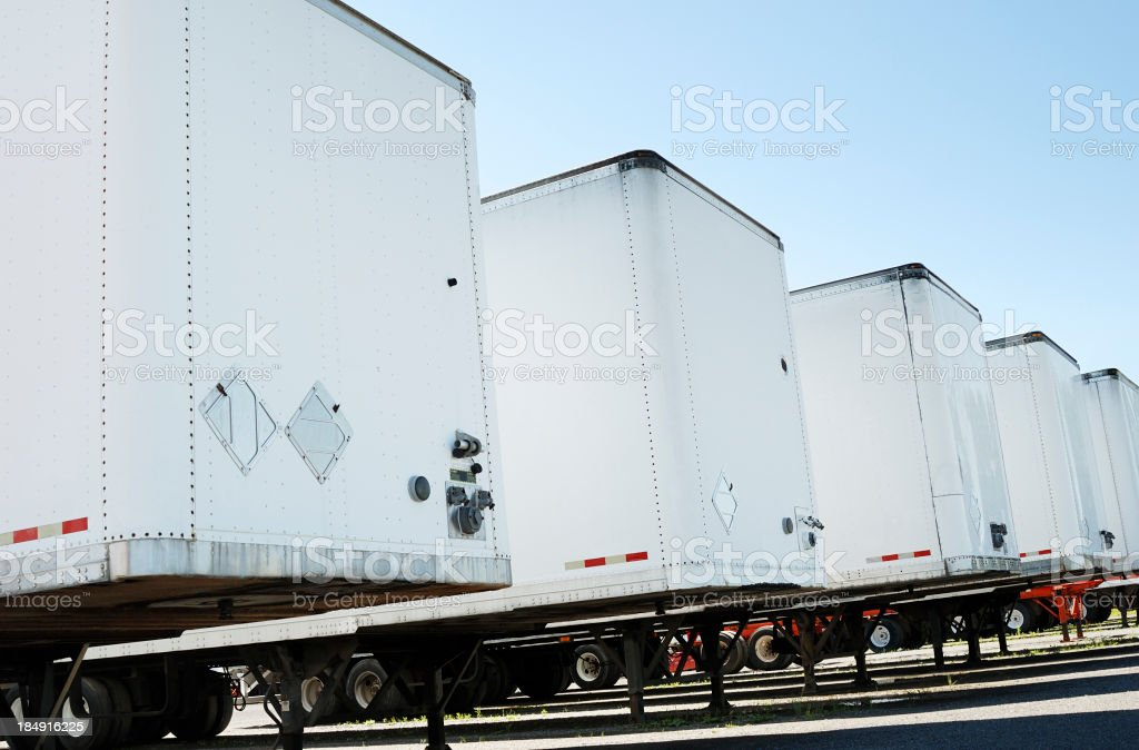Semi truck trailers stock photo