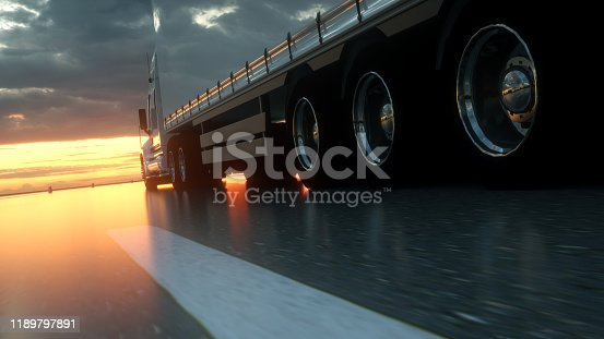 Semi Truck Wheels Closeup on asphalt road highway at sunset - transportation background. 3d rendering.