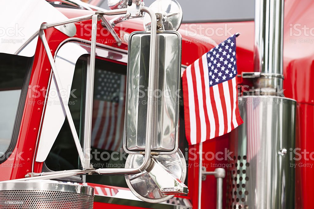 Semi Truck With American Flag stock photo