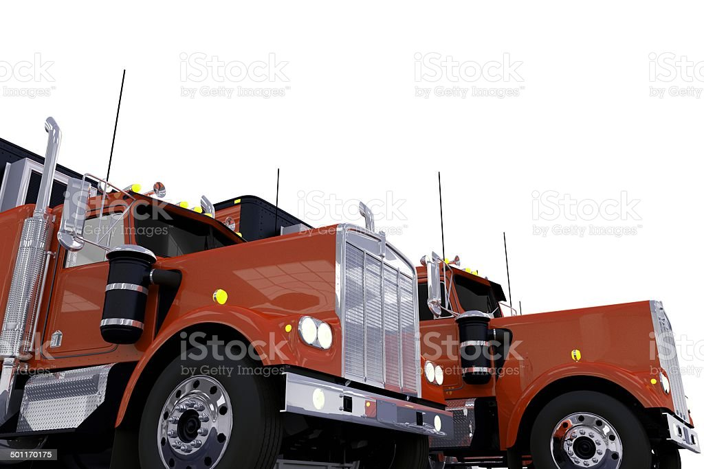 Semi Trucks Convoy royalty-free stock photo