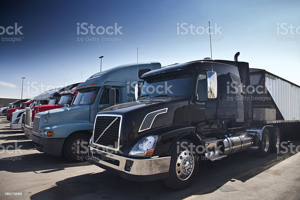 Semi Trucks in a Row royalty-free stock photo