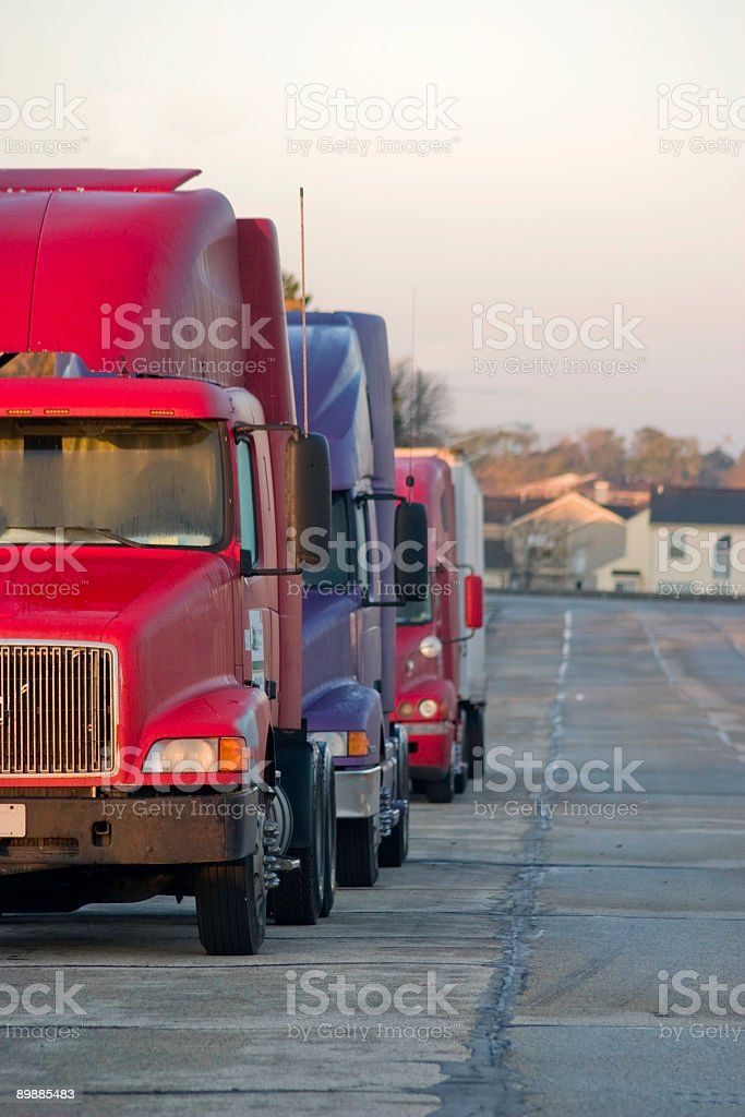 semi trucks in the morning royalty-free stock photo