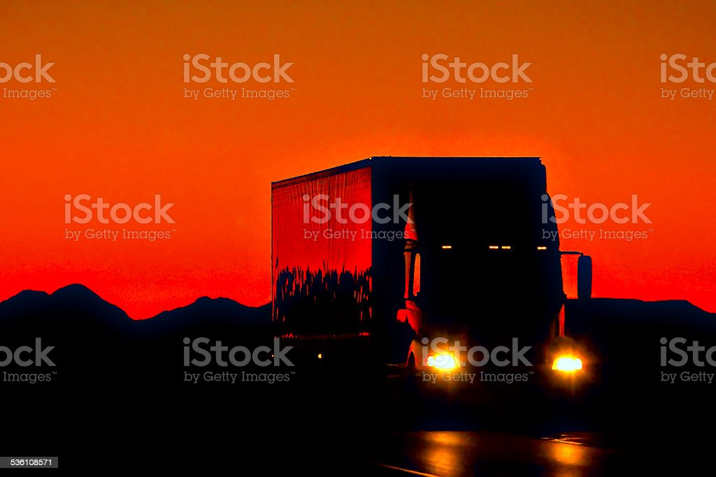 semi trucks in the red background stock photo