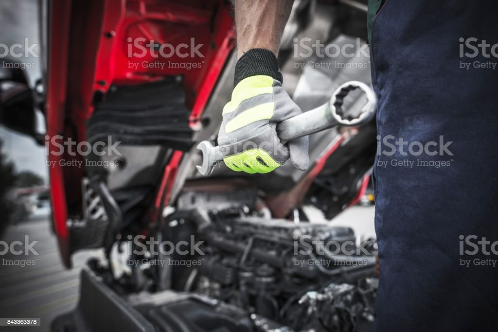 Semi Trucks Mechanic stock photo