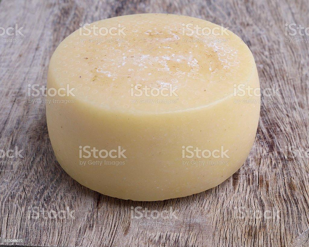 Semi-aged pecorino cheese form stock photo