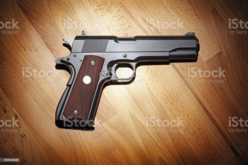 Semi-automatic .45 caliber pistol stock photo