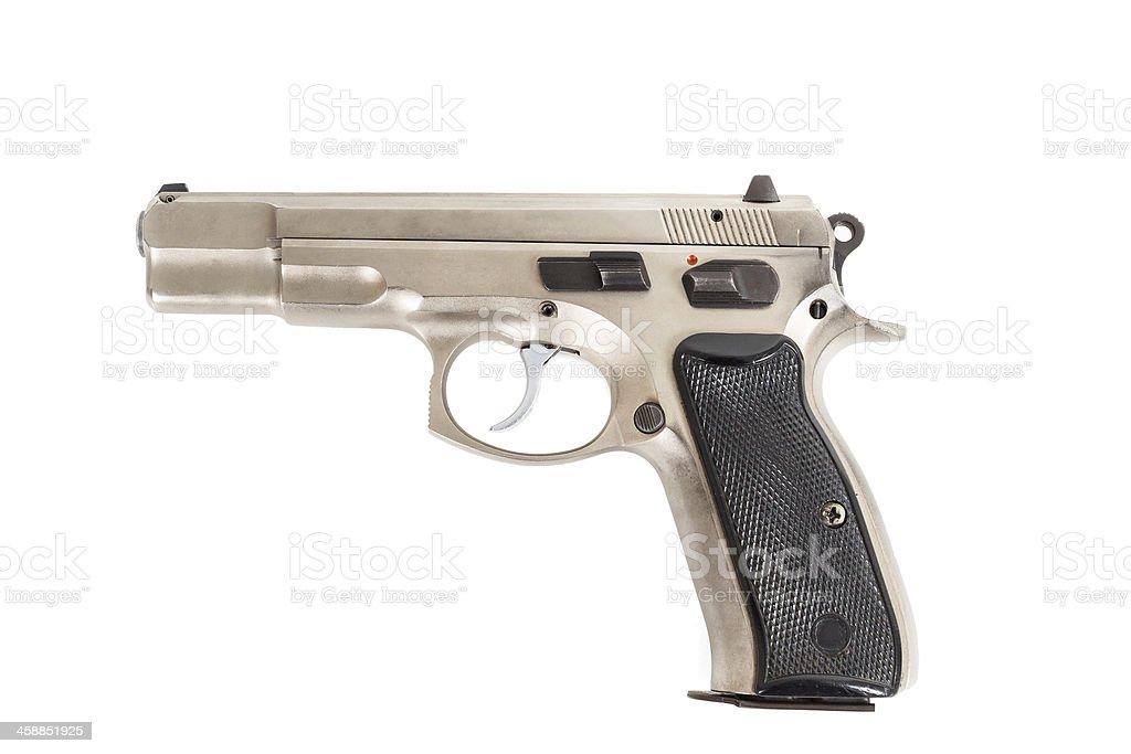 Semi-automatic gun isolated on white background stock photo