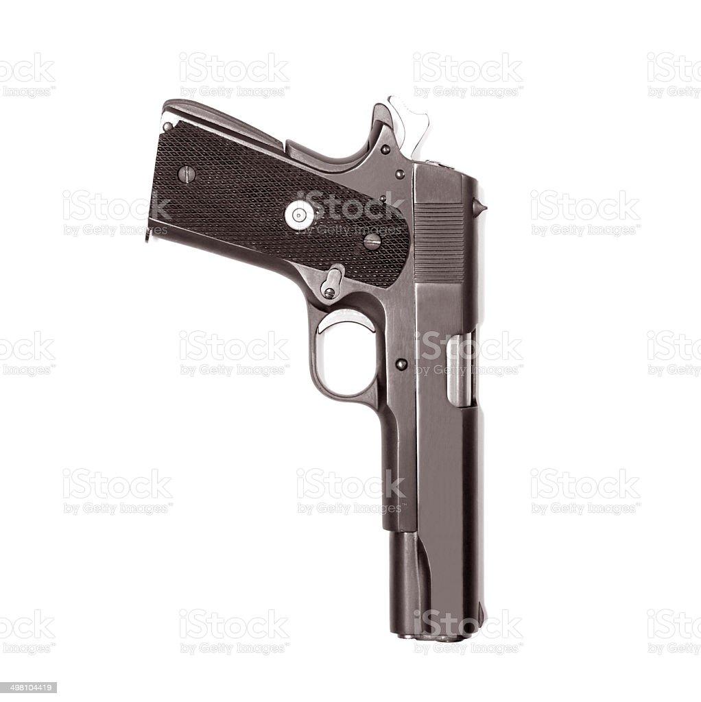 Pistola semiautomática aislado sobre fondo blanco - foto de stock