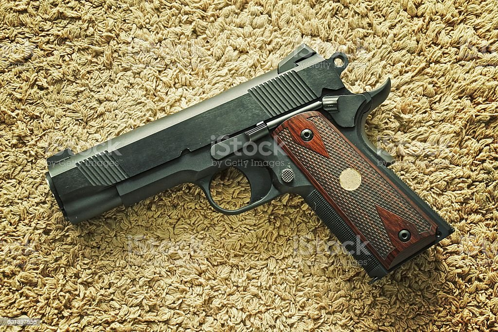 Semi-automatic handgun 45 pistol, 1911 model. stock photo