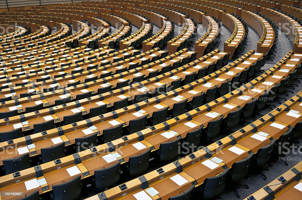 Semi-Circle of Empty Seats European Parliament Brussels stock photo