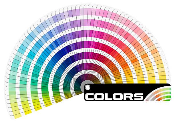 palette de couleurs pantone-demi-cercle - demi cercle photos et images de collection