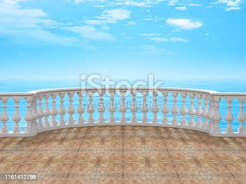 Semicircular balustrade in white marble with tiled floor look of the sea