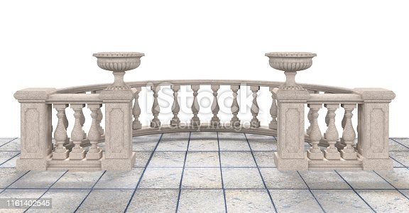 Semicircular balustrade with vases and tiled floor on a white background