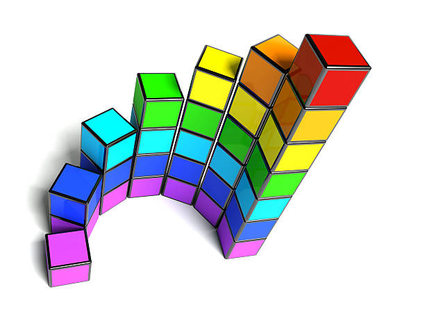 tableau semi-circulaire diagramme de cubes arc-en-ciel - demi cercle photos et images de collection