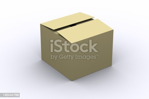 3d rendered isolated semi-closed cardboard box over white