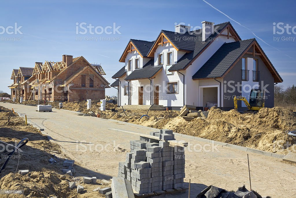 Semi-detached houses under construction royalty-free stock photo
