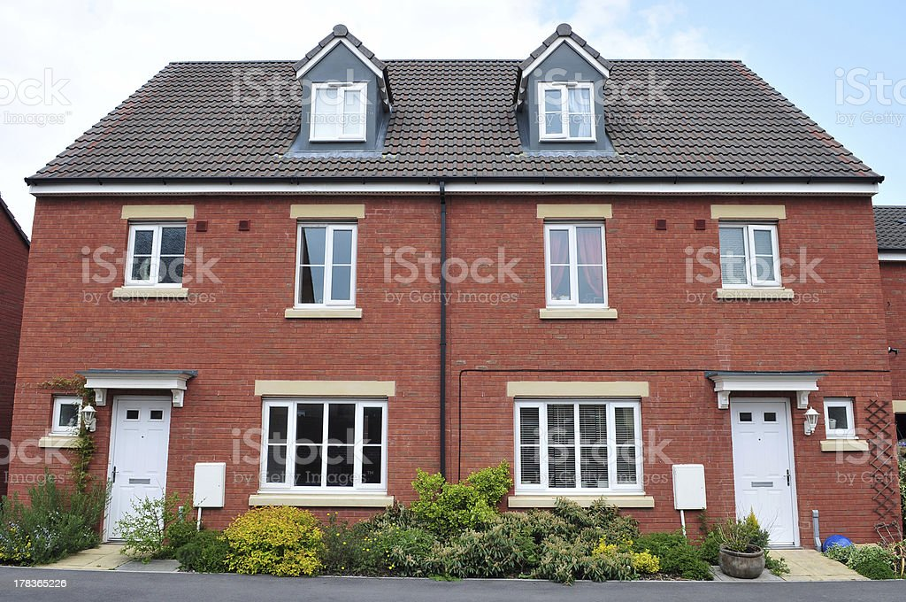 Semi-Detached Red Brick Houses royalty-free stock photo