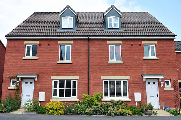 Semi-Detached Red Brick Houses stock photo