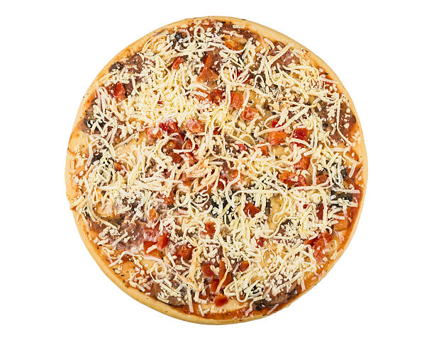 semi-finished frozen pizza isolated on white - dikke pizza close up stockfoto's en -beelden
