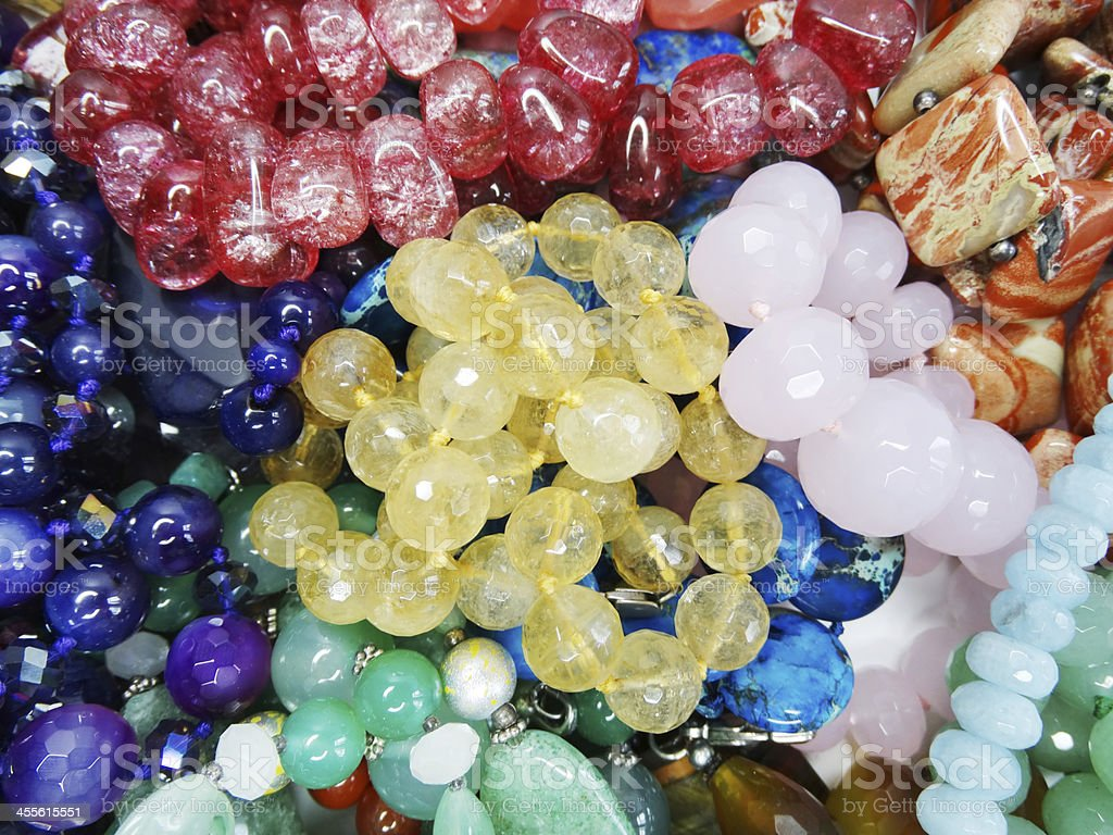 semigem crystals beads jewellery stock photo