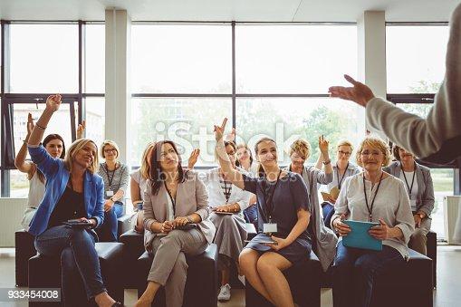 933450738 istock photo Seminar for businesswomen 933454008