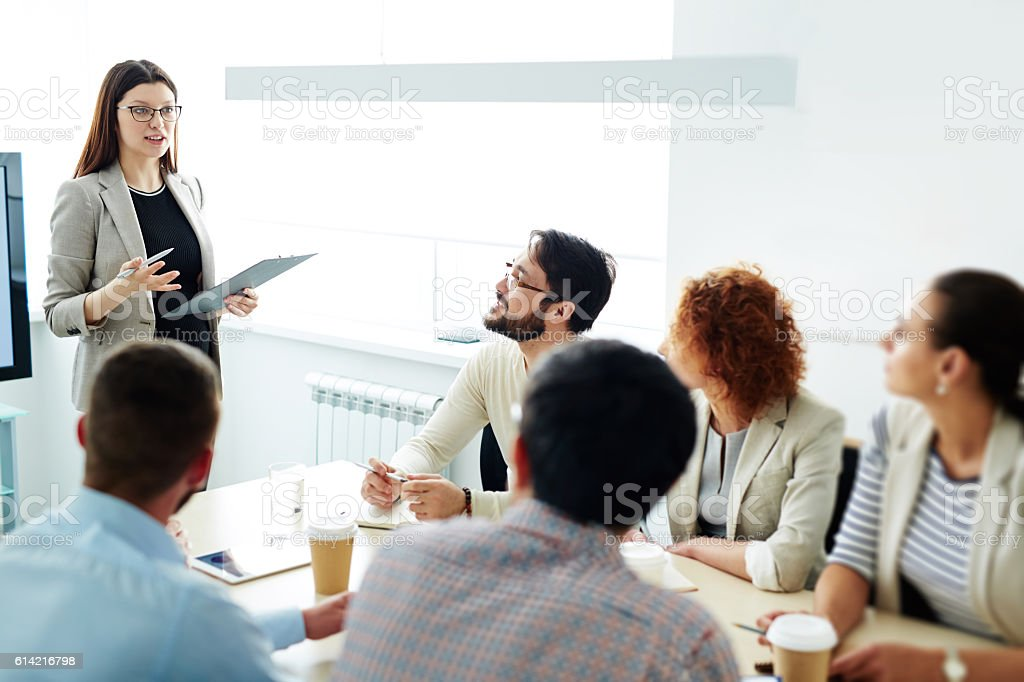 Seminar for managers stock photo