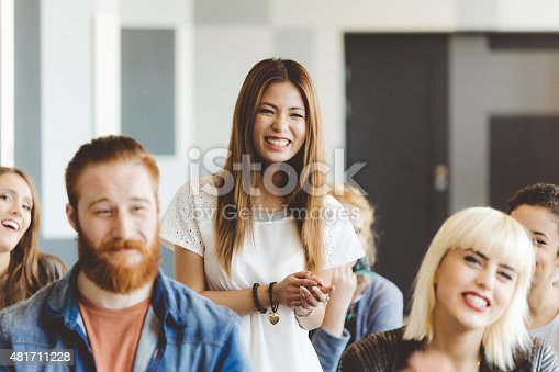 istock Seminar for students, focus on smiling asian woman 481711228