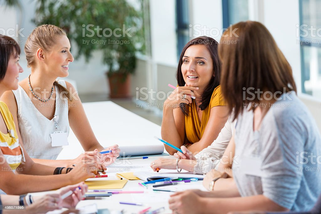Seminar for women Group of happy women attending a semiar. 30-39 Years Stock Photo