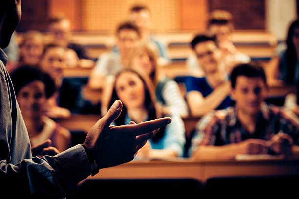 Seminar in lecure hall stock photo