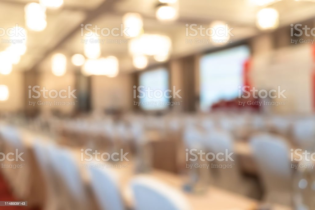 Seminar or town hall meeting blur background in hotel conference room...