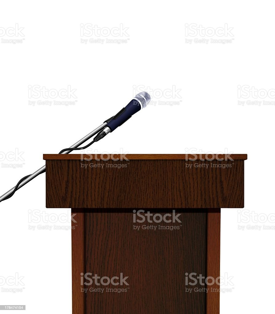 Seminar speech podium and microphone royalty-free stock photo