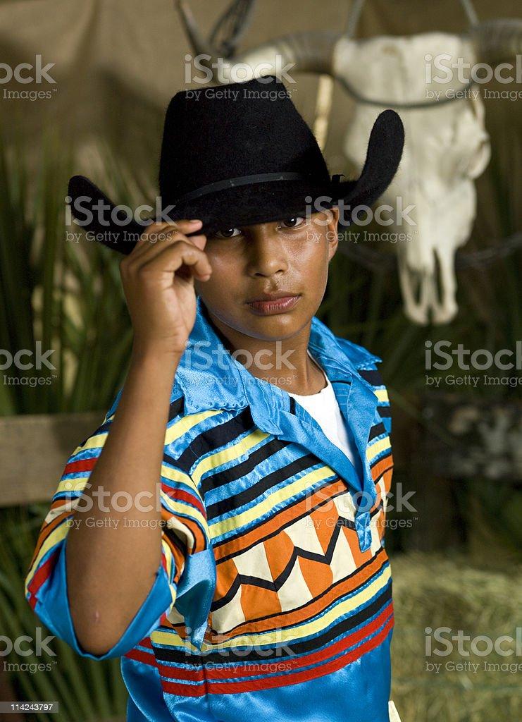 Seminole Young Cowboy Saluting stock photo