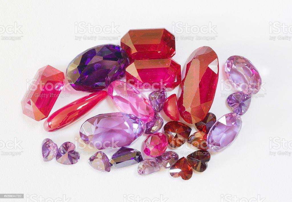 semi-precious faceted stones stock photo