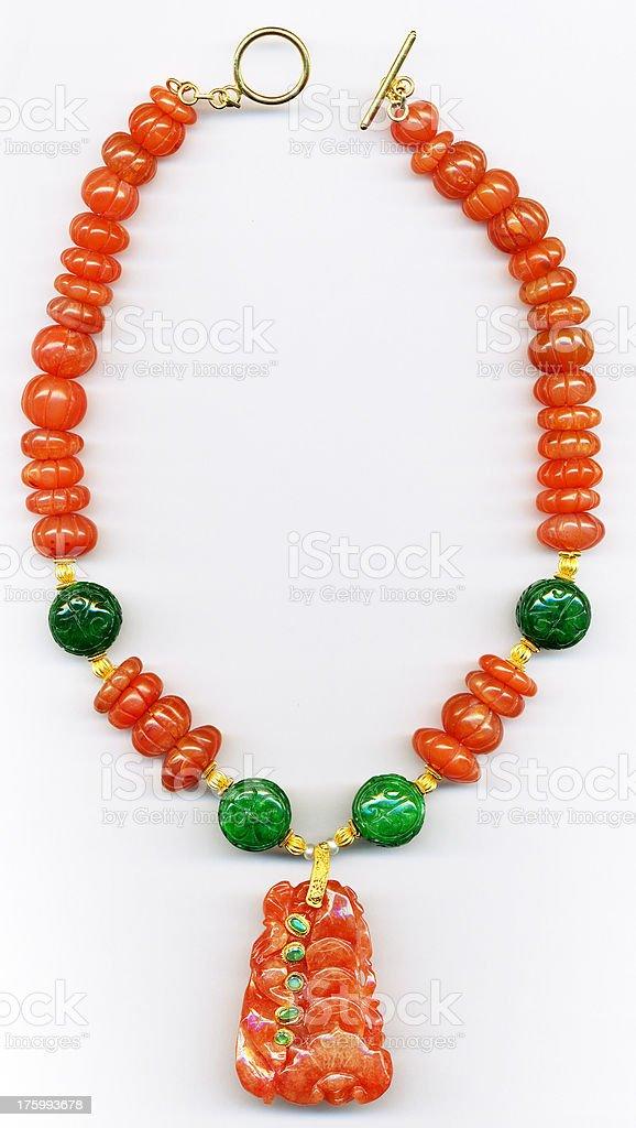 Semi-precious stone necklace stock photo
